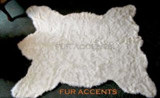 Plush Bear Skin Area Rug White Faux Fur Accent Fake Sheepskin Throw
