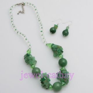 New Green Round Jade Crystal Beads Necklace Earring Set