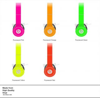 Red Neon Skin Kit for Monster Beats by Dr Dre Solo Headphones