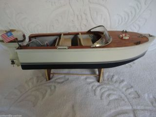 Vintage Toy Wood Boat Battery Operated Outboard Motor