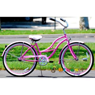 Beach Cruiser Bicycle Bikes Micargi Tahiti 26 Womens Pink with Fenders
