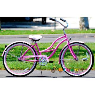 Beach Cruiser Bicycle Bikes Micargi Tahiti 26 Womens Pink with Fenders