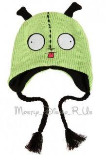 Invader Zim GIR Plush Face Peruvian Beanie Hat Green Head W/ Ears