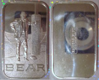 BEAR BRYANT ALABAMA NCAA FOOTBALL ROLL TIDE SILVER ART BAR RARE ERROR