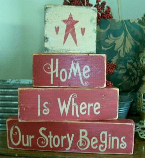 Primitive Shelf Blocks Home Is Where Our Story Begins Stars