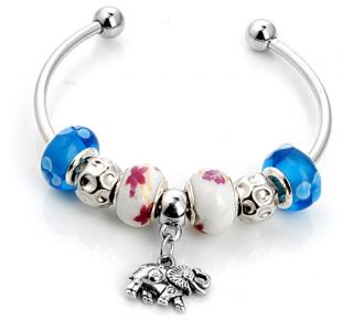 lampwork glass silver plated European beaded charm bracelet S 674