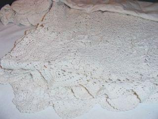 Vtg Queen/Full Sz Hand Crochet Bed Skirt/Dust Ruffle 14 Drop