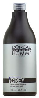 oreal homme grey anti yellowing shampoo for grey white hair 25 4 oz