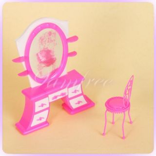 Table Chair for Barbie Doll House Bedroom Furniture Miniature