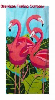 Pink FLAMINGO Beach Towel Tropix NEW NWT 100% Cotton 30 x 60 Tropical