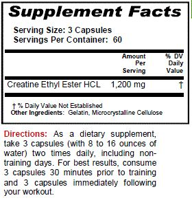 Bottle Creatine Ethyl Ester HCL 180 Capsules CE2 Build Muscle KRK