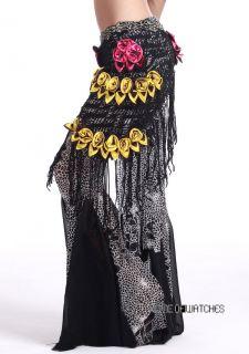Black Belly Wrap Hip Scarf Costume Exquisite Tassels Flower Pattern