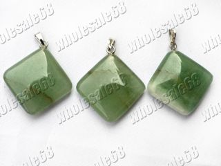 Wholesale Lots 50pcs Square Green Gemstone Pendant Bead