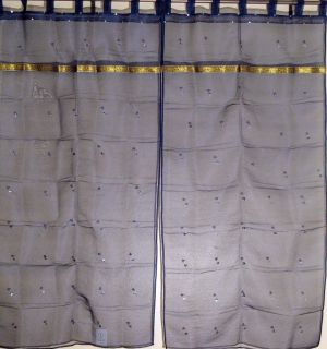 Sari Navy Blue India Organza Sequin work 2 Sheer Curtains Panels 78in