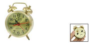 Bedroom Gold Tone Metal Housing Wind up Dull Bell Alarm Clock