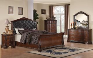 Madison Queen Bedroom Set Cherry Wood Scroll Posts 5 Piece Set