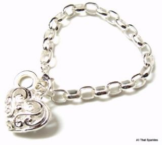 filigree heart girls child belcher charm bracelet