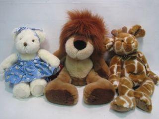 Lot Russ Teddy Bears Lion Godfrey The Giraffe Teddy Bear w Porcelain