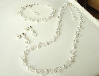 Swarovski Crystal Pearl Bridal Jewellery Illusion Set