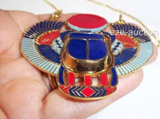 Egyptian Inspired Sparkling 3D Huge Scarab Beetle Necklace