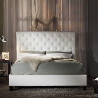 White Modern Contemporary Platform Bed Frame w Headboard Bedroom