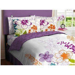 Orange White Girls Multi Flower Twin Comforter Set Bed in A Bag
