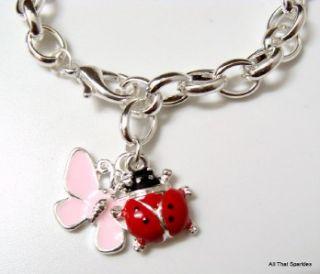 Red Lady Bug Ladybug Pink Butterfly Girls Belcher Charm Bracelet