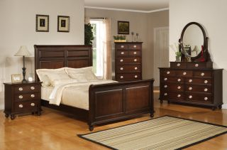 Temre Queen Bedroom collection Cappuccino Felt lined 5 Piece Set