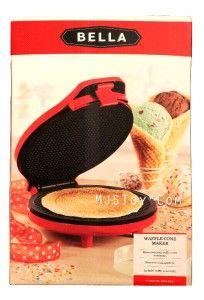 Bella Cucina 13468 Ice Cream Waffle Cone Maker Fresh Homemade Waffle