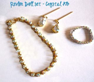 Crystal AB Rhinestone Jewelry Set 3 Pieces for Revlon Toni Uneeda