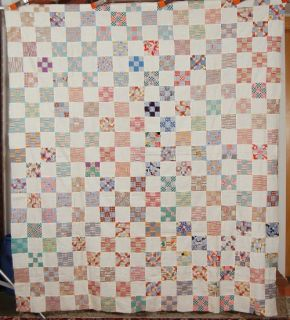 30s Vintage Nine Patch Postage Stamp Hand Stitched Antique Quilt Top