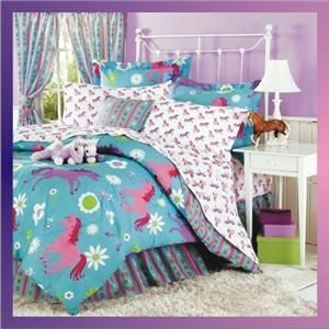 New 11 Piece Girls Pony Horse Bed in A Bag Comforter Sheets Shams