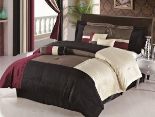 Silk Burgundy Beige Black Brown Comforter Set Bed in a bag, Queen Size