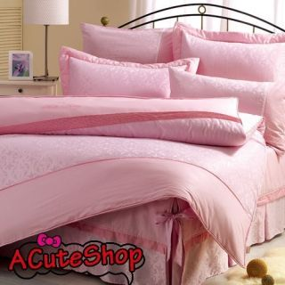 Jacquard King Size Fitted Bedsheet Pillow Cases Quilt Case Set