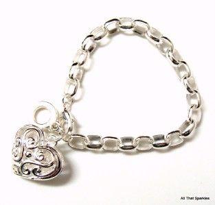 filigree heart girls child belcher charm bracelet