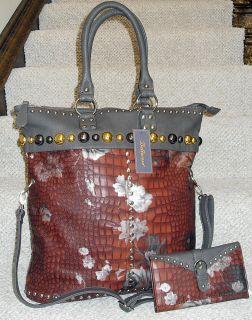 New Large Bellerose Quality Studded Floral Embossed Bag & Wallet Set