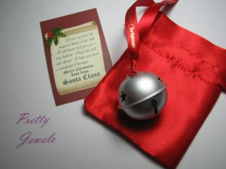 Polar Express Style Bell Matt Silver Message from Santa
