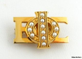 Pearl Phi Beta Sigma Badge   10k Yellow Gold Pearl Box Fraternity Pin