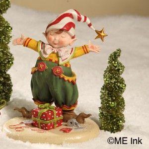 Engelbreit Christmas Its A Wrap Elf Figure Bethany Lowe ME0263