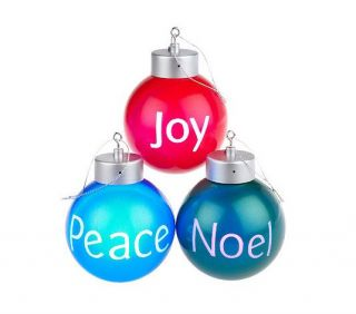 Mr Christmas Peace Joy Noel Greeting Ornaments s 3 Illuminated Color