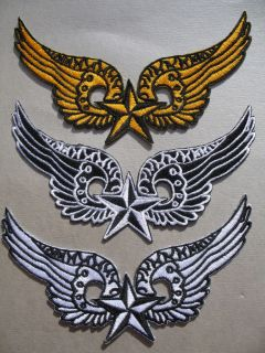 Winged Star Iron On Patch   Angel Wings   biker rock goth emo *Choose