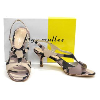 New Bettye Muller Italy Ritz Heels Sandals Shoes 40 Military
