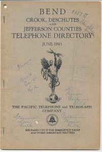 1943 Bend Oregon Telephone Directory Phone Book