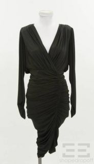 Beyond Vintage Black Jersey Ruched Long Sleeve Dress Size S NEW