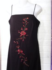 Long Black Rose Embroidered Dress Evening Gown Arianna by Rachel Kaye