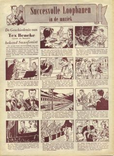 here s a full page comic strip style cartoon about tex beneke