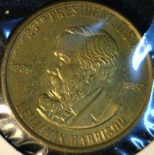 Benjamin Harrison Franklin Mint Commemorative Bronze Medal Token Coin