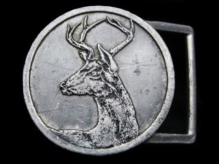 Vintage 1970s Big Buck Deer Circular Shaped Belt Buckle