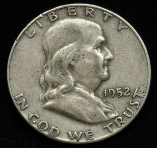 1952 D Benjamin Franklin Silver Half Dollar as Pictured K276