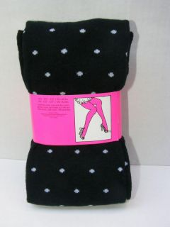 Betsey Johnson Polka Dot Sweater Tights s M L Black White Dots Warm